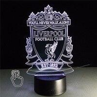 3D LED 7Color Lampara Futbol USB Novelty Gift Football Club RGB LED Night Light Table Lamp