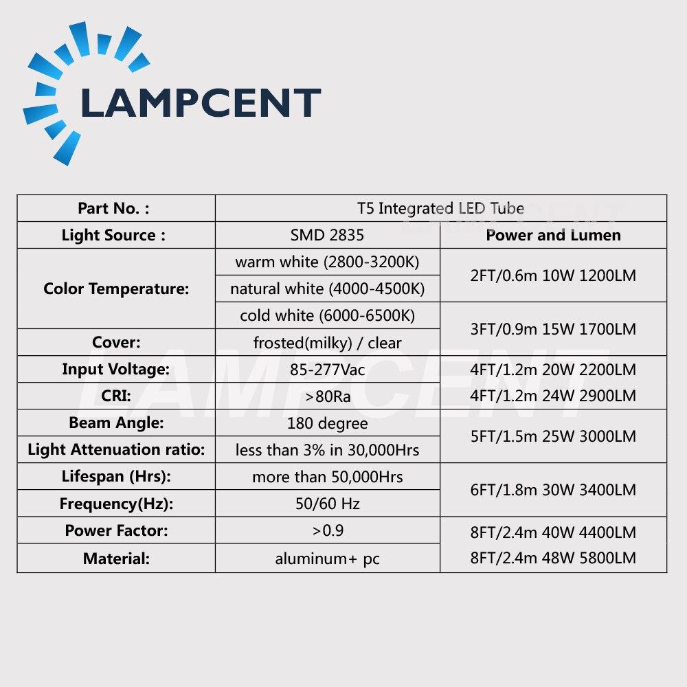 2FT 3FT 4FT 5FT 6FT 8FT интегрированный T5 Светодиодная трубчатая лампа магазинный светильник 15/20 Вт, 30 Вт, пакет - 3