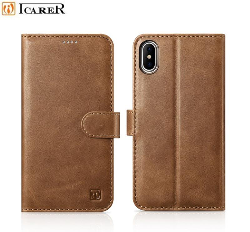 Icarer cuir véritable détachable 2 en 1 portefeuille Folio étui pour iphone X bracelet magnétique Flip couverture pour iphone 10