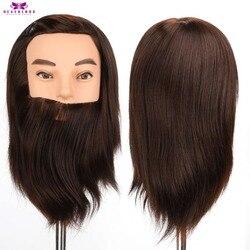 100% pelo sintético Real cabeza de maniquí masculino con barba de pelo para peluches salón de peluquería cabezas de entrenamiento masculino para cortar