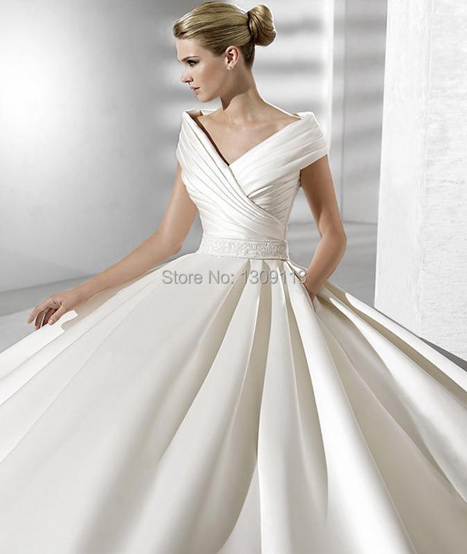 Royal princess charming v neck cap sleeve a line floor for Wedding dresses with royal length train