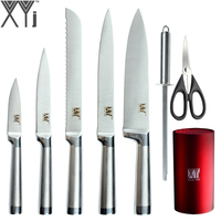 XYj Kitchen Knives 8 Piece Set Fruti Utility Bread Slicing Chef Stainless Steel Knife Sharpening Rod