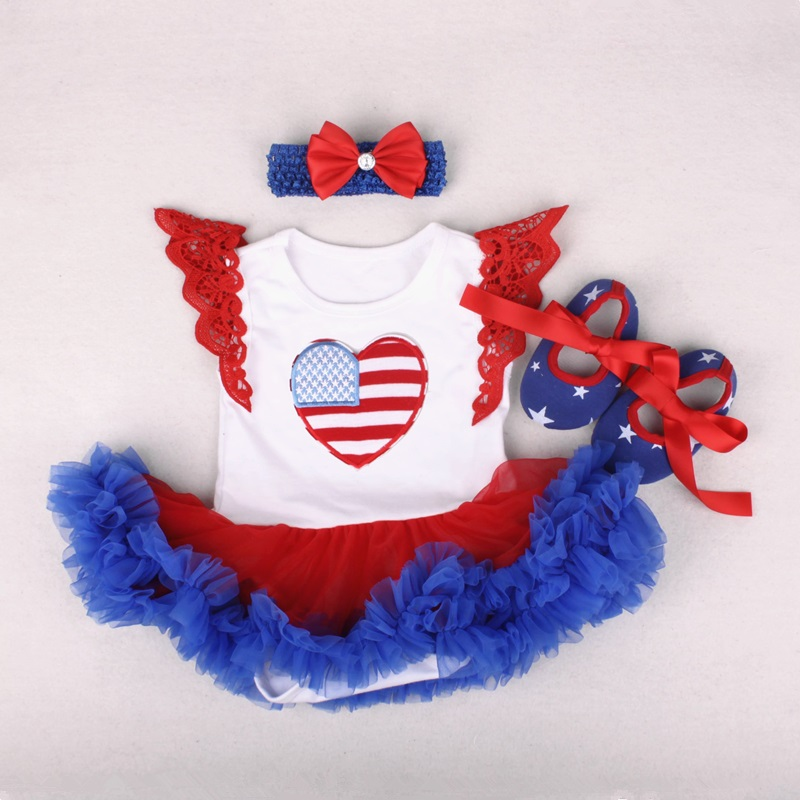 baby girl clothes bebe newborn baby 4th of July Clothing set for party outfit wear Blue Red Tulle Dresses with Love Heart Romper