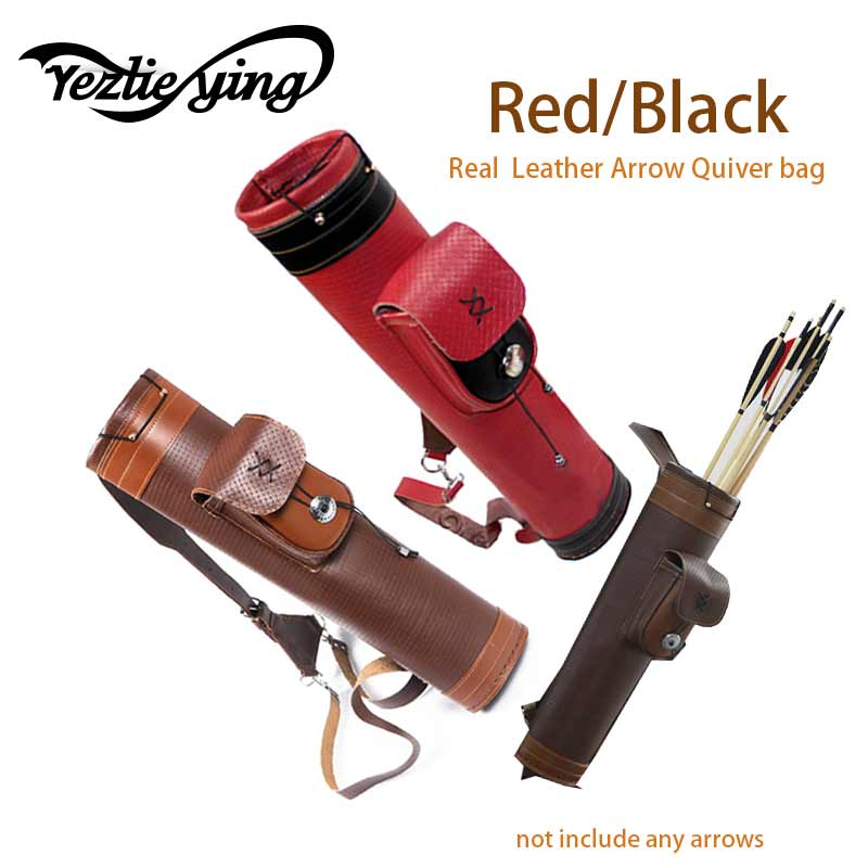 Real leather Traditional Archery Shoulder Back Quiver Bow Genuine Leather Arrow Holder Bag Hunting Archery Tackle Gear outdoor camouflage archery hunting arrow quiver water resistant archery quiver holder caza arrows bow quiver bag with zipper