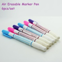 6pcs/set Air Erasable Pen Water Soluble Fabric Marker Pen replace for Tailor's Chalk 3colors Gel pens Sewing Tools & Accessory