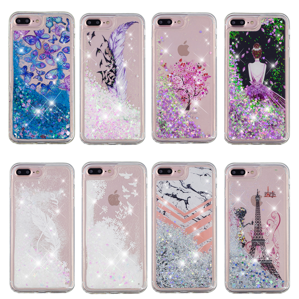 For Iphone 7 Case Bling Glitter Sparkle Stars Quicksand Water Hard Plastic Case Cover For Iphone 7 Plus Liquid Case Coque Fundas Phone Bags & Cases Half-wrapped Case