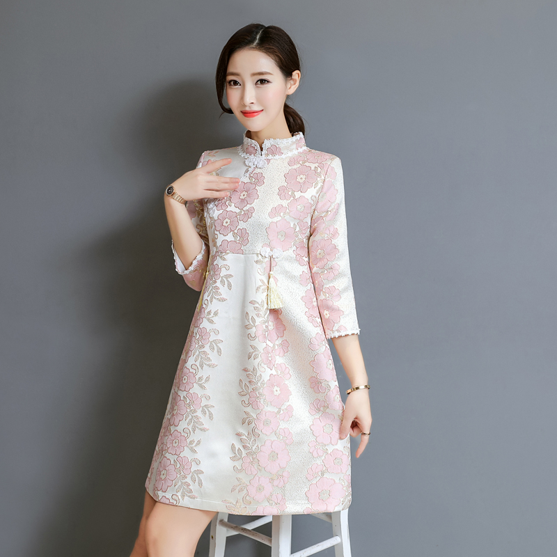 10eca5c02a 2018 Autumn New jacquard tassel women dress Chinese national style Chinese  style improved Lolita cheongsam dress elegant-in Dresses from Women s  Clothing on ...