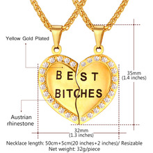 Best Bitches – Couple Pendant Heart Necklace Gold Color Best Bitch Stainless Jewelry