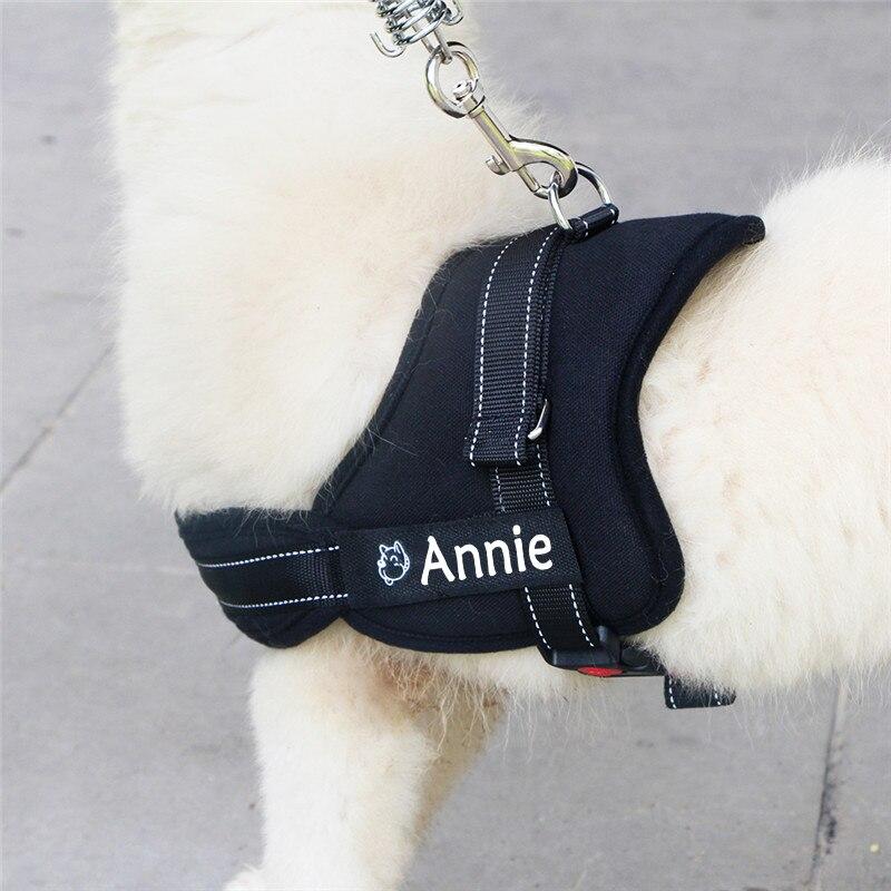 New Fashion Dog Name Harness Costumized Free Name Phone Number Medium Large Big Dog Pet Personalized Harness 7