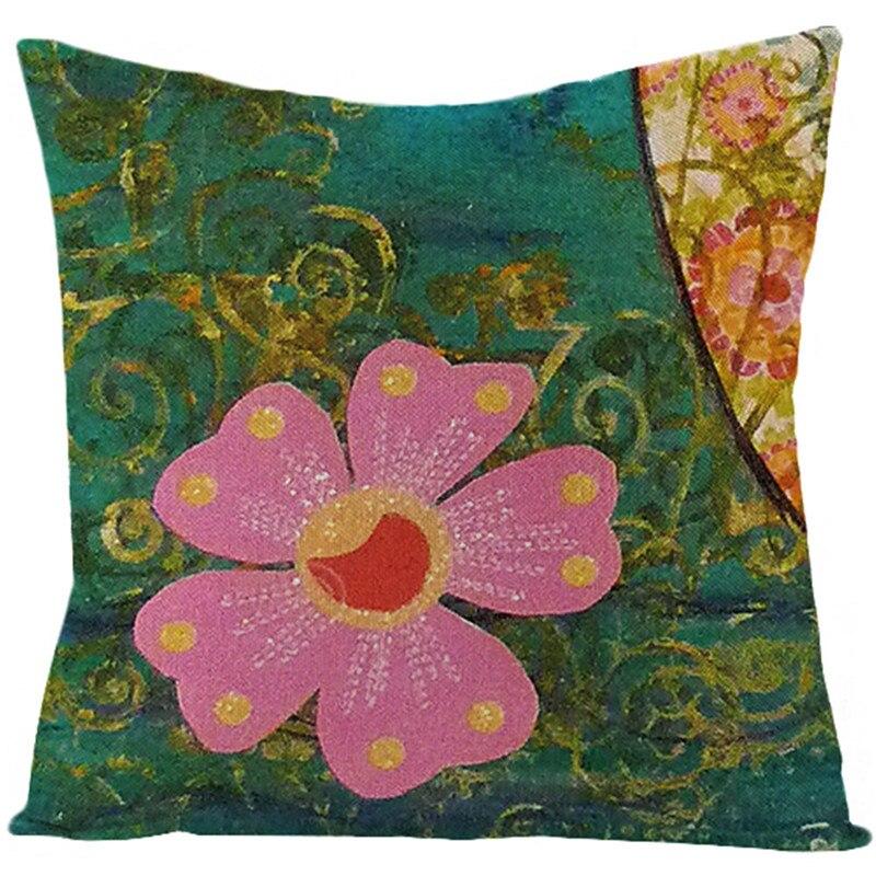 Fuwatacchi taie d'oreiller en lin fleurs rétro décoratif housse de coussin décoration de la maison pendaison de crémaillère coussin ensemble cadeau personnalisé