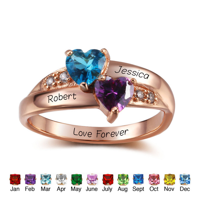 0f82263b80 925 Sterling Silver Personalized Rings Heart Birthstone Promise Ring  Romantic Valentines Jewelry Mothers Day Gifts (RI102347)