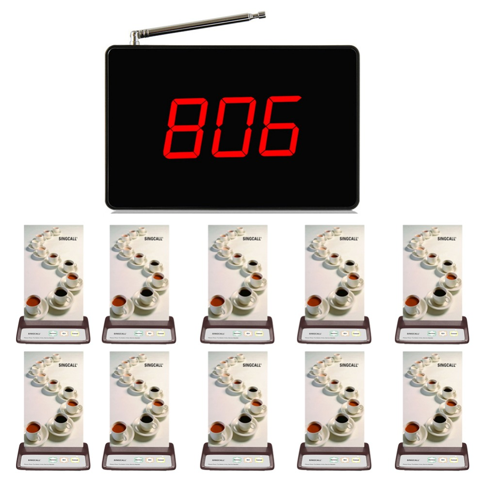 SINGCALL restaurant ordering system,call customer service , 1 wireless display receiver and 10  coffee bells wireless pager system 433 92mhz wireless restaurant table buzzer with monitor and watch receiver 3 display 42 call button
