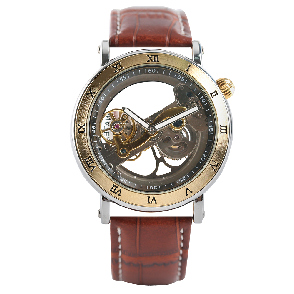 Women's Watch Leather Strap Ladies's Skeleton Watch Automatic Self-winding Mechanical Wristwatch Luxury Style Transparent Dial