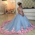Bebé Azul 3D Floral Vestidos de Bola de Mascarada 2017 Flor Hecha A Mano Vestido de Debutante Vestidos de Quinceañera Dulces Niñas de 15 16 Años
