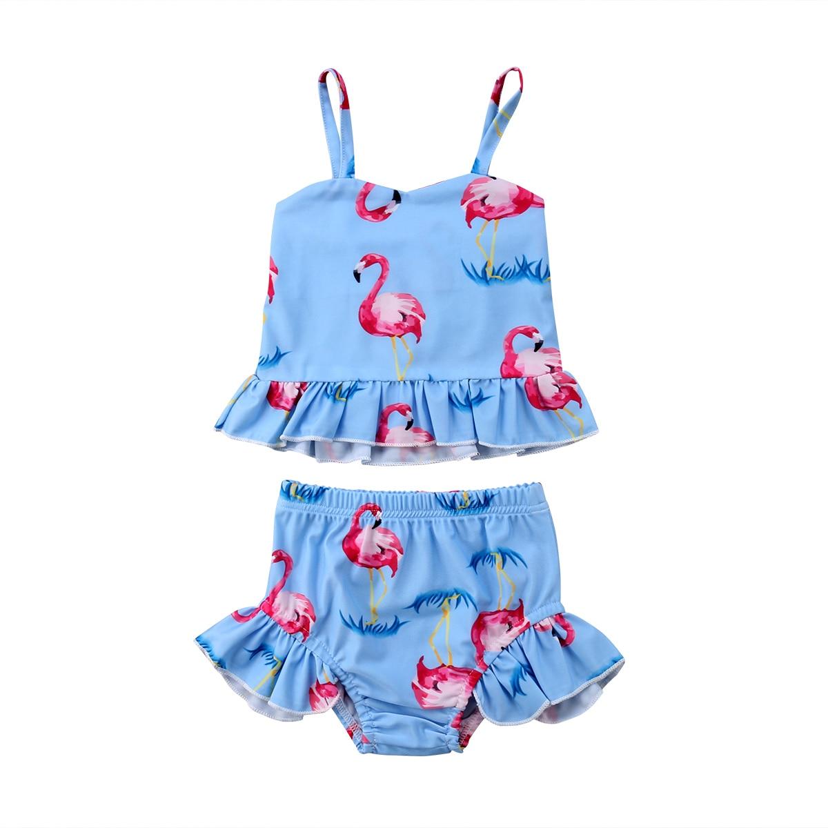 2018 Brand New Toddler Infant Kids Baby Girl Flamingos Print Bikini ...