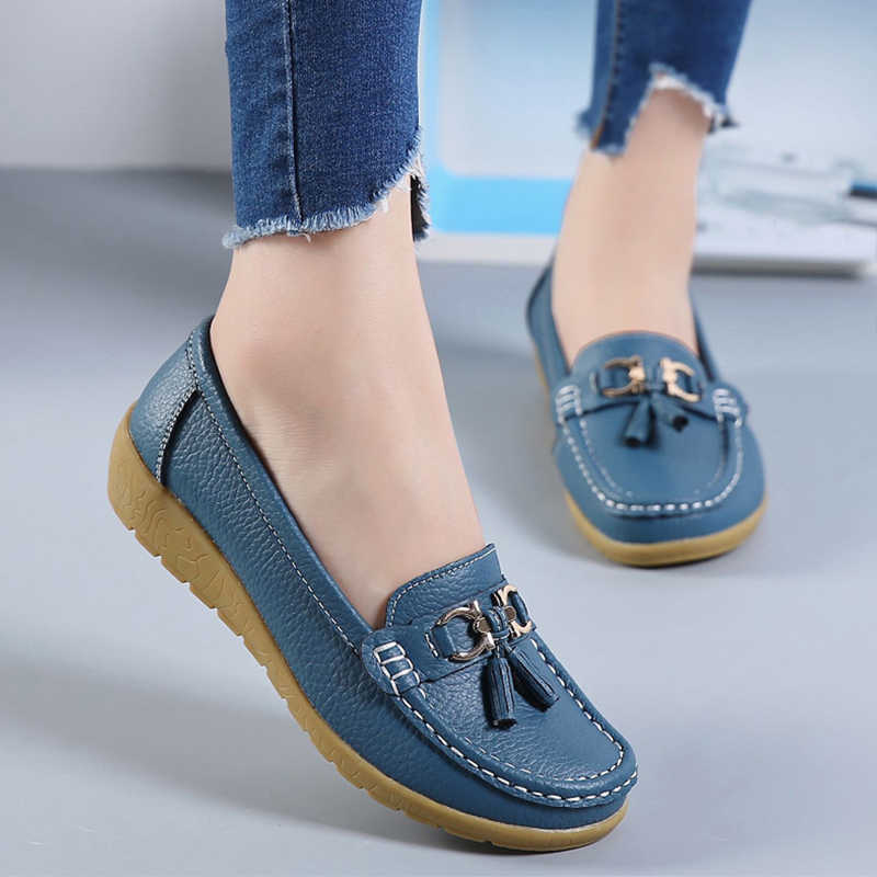 2019 Fashion Shoes Women Genuine Leather Shoes Woman Fashion Casual Wedge Loafers Shoes Slip-on Round Toe Shoe For Women Mocasin