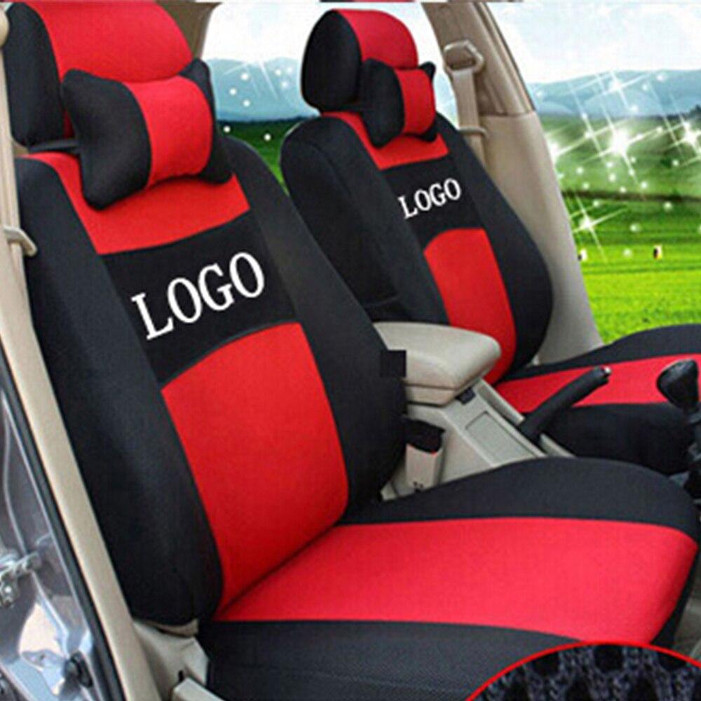 Logo brodé gris/rouge/beige/bleu housse de siège de voiture avant et arrière complet 5 places pour SUV NISSAN Paladin QASHQAI X-TRAIL Murano