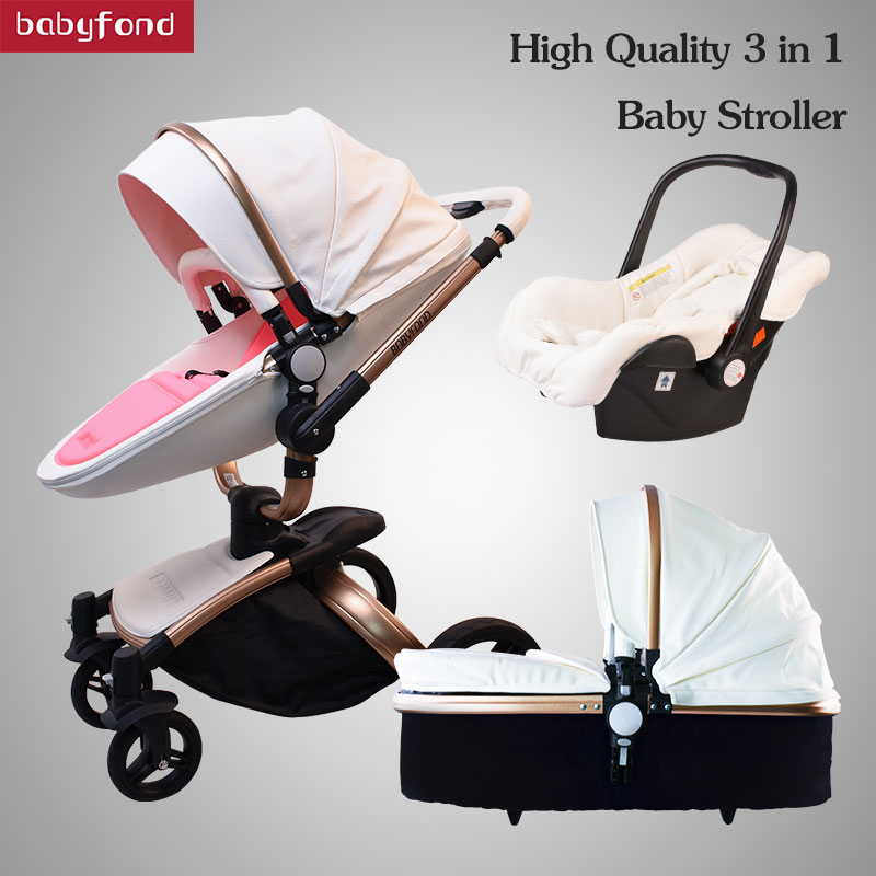 High quality 3 in 1 leather baby strollers 360-rotating seats light folding export baby pram brand black frame цена 2017