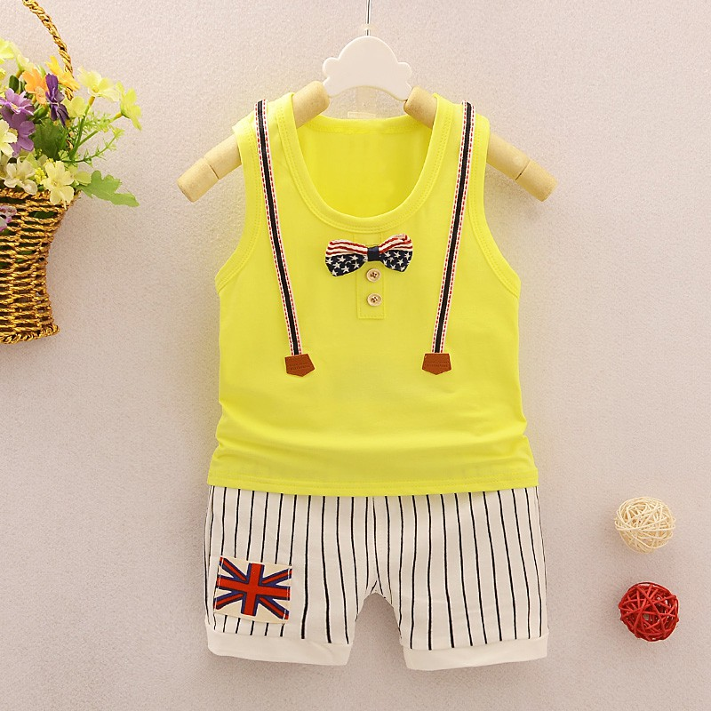 eb7cabd7a8b6 Fashion Children Boys Girls Summer Clothing Suits Baby Print Vest +Stripe Shorts  2Pcs Kids Embroidery Star Clothes Toddler Track