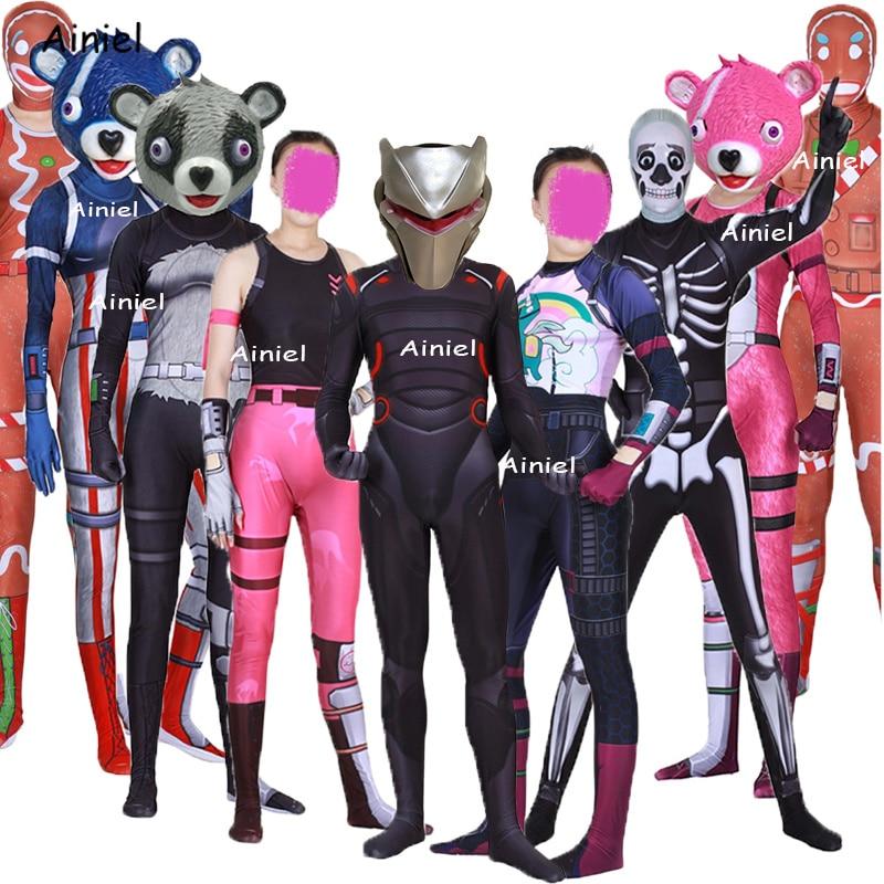 Kids Adult Game Fortnight Cosplay Costume Mask Full Face Zentai Bodysuit Halloween Fortnight Costume Mask Full Set for Women Men