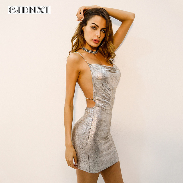 CJDNXI Women Summer Sequin Bodycon Dress Spaghetti Strap Bandage Chain  Cross Backless Sleeveless Mini Sexy Wrap Glitter Dresses