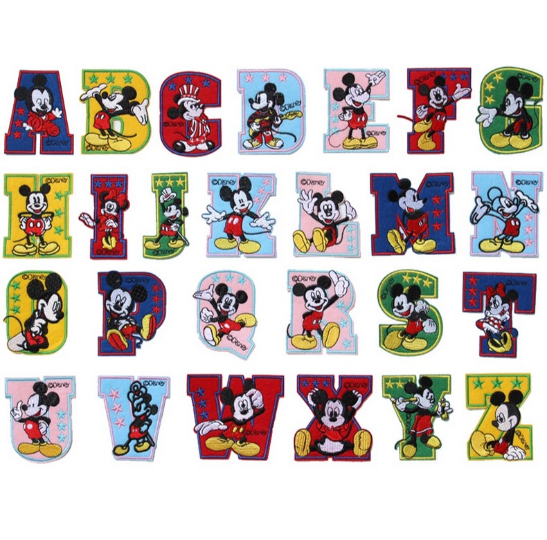 cartoon english 26 alphabet letter english language applique sew on iron on patch kids baby embroidery