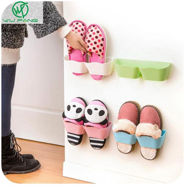 1pc Plastic Shoes Shelf Rack Wall Mounted Sticky Hanging Shoe Holder Organiser Slippers Storage