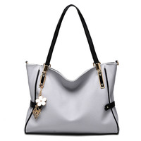 MONNET CAUTHY Bags Woman Office Lady Leisure Fashion Handbags Solid Color Lavender Pink White Black Blue Light Grey Shoulder Bag