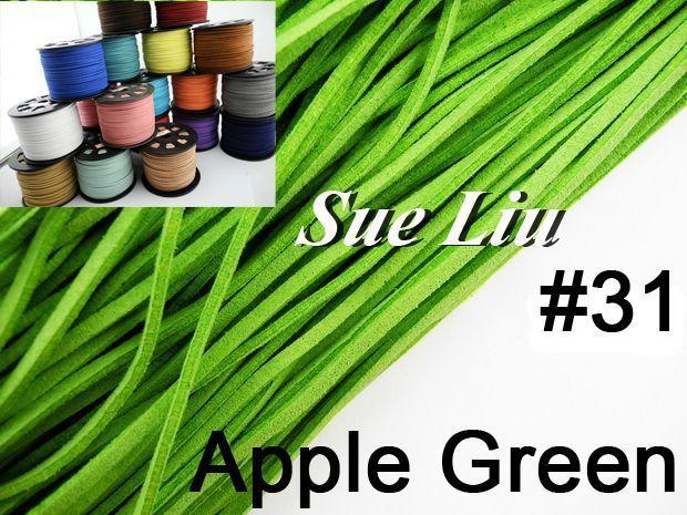 100yds/pcs 2.6mmx1.5mm Apple Green Flat Faux Suede Velvet Leather Cord for friendship bracelet NCSS-31
