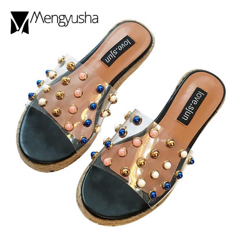 ... transparent platform sandals women colorful pearl rivets flip flops  brand straw studded wedges slippers sandale femme ... 83727c3d0cd9
