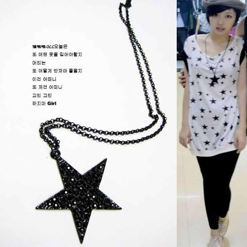 ファッションジュエリー黒五角形五芒星のペンダントネックレスヒップホップパンクロングセーターのネックレスの卸売