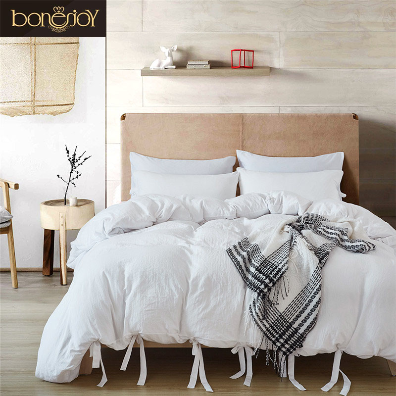 Bonenjoy White Bedding Set King Luxury Cotton Hotel Bedding Sets Solid Bed Cover Queen Size Ties Duvet Cover Bedding Kit