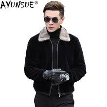 AYUNSUE стрижки овец зимние натуральный мех пальто Для мужчин серой норки меховой воротник короткие Для мужчин Кожаная куртка Шерстяное пальто плюс Размеры Xxxxl KJ829
