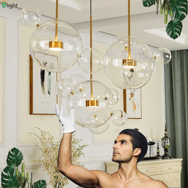 Modern Mickey Led Chandeliers Lighting Glass Balls Dining Room Led  Chandelier Lamp Gold Metal Living Room Hanging Light Fixtures