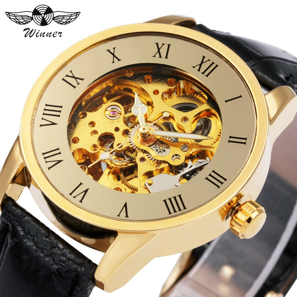 WINNER Top Brand Luxury Dress Watch Men Auto Mechanical Wristwatch Leather Strap Golden Skeleton Roman Number Steampunk Watches forsining skeleton watch transparent roman number watches men luxury brand mechanical men big face watch steampunk wristwatches