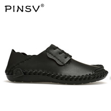 PINSV Men Shoes Casual Leather Shoes Men Flats Black Luxury Shoes Men Loafers Size 38-48 Sapato Masculino