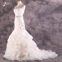 Белый Русалка Оболочка Классическая свадебное платье Многоуровневое индивидуальный заказ органзы Черный Для женщин Свадебные вечерние ма