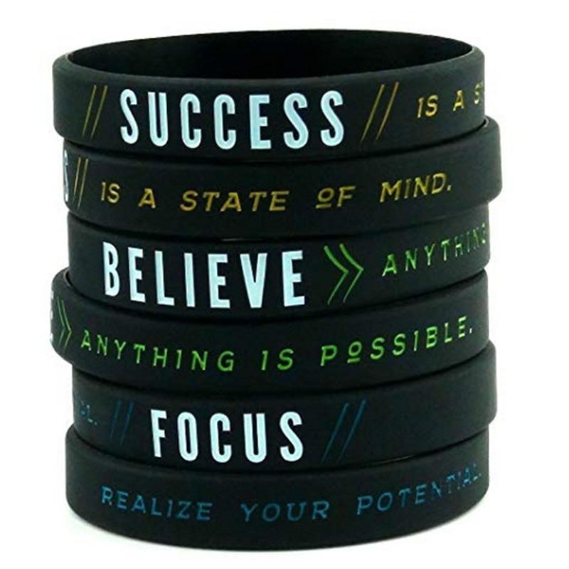 12 Pack Motivational Silicone Wristbands Success Focus /& Believe Wholesale Bulk