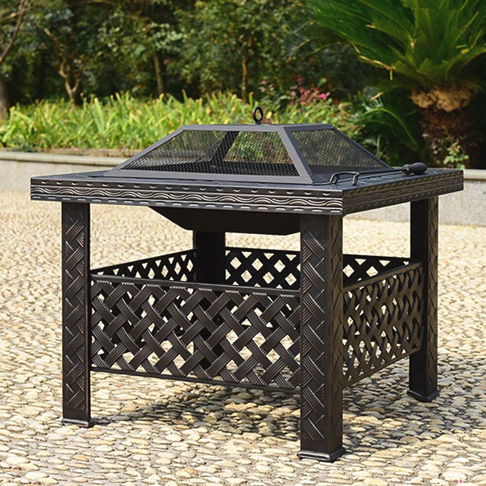 IKayaa Cool Metal Backyard Fire Pit Patio Rectangular Garden Firepit Stove  Brazier Outdoor Fireplace Firepit For
