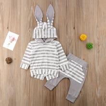 Autumn Winter Toddler Baby Boy Girls 3D Bunny Ears Long Sleeve Striped Hooded Sweatshirt