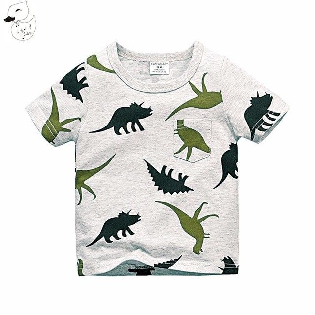 BINIDUCKLING 2017 Boys Short Sleeve T Shirts Summer Shirt Kid Baby Children Clothing Captain Anchors dinosaur printed tshirt