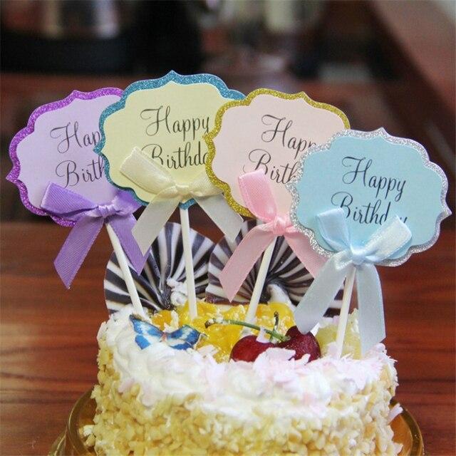 Hot Sale 5 10 Pcs Paper HAPPY BIRTHDAY Cake Topper DIY Wedding Decoration Birthday Party