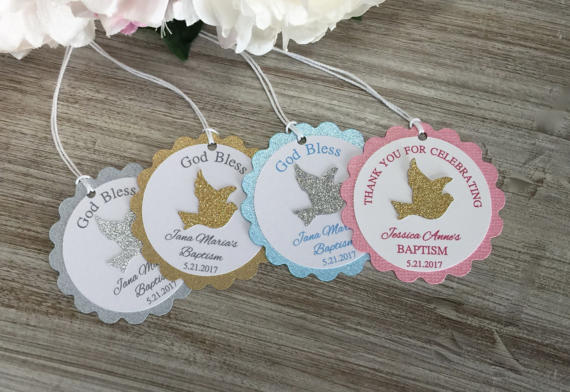 Custom Name Dove First Communion Christening Favor Baby Shower Gift Tags Welcome Favors Labels Baptism Birthday Booking Cards