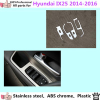 Stainless Steel Door Window Glass Panel Armrest Lift Switch Button Trim Frame Molding 4pcs For Hyundai