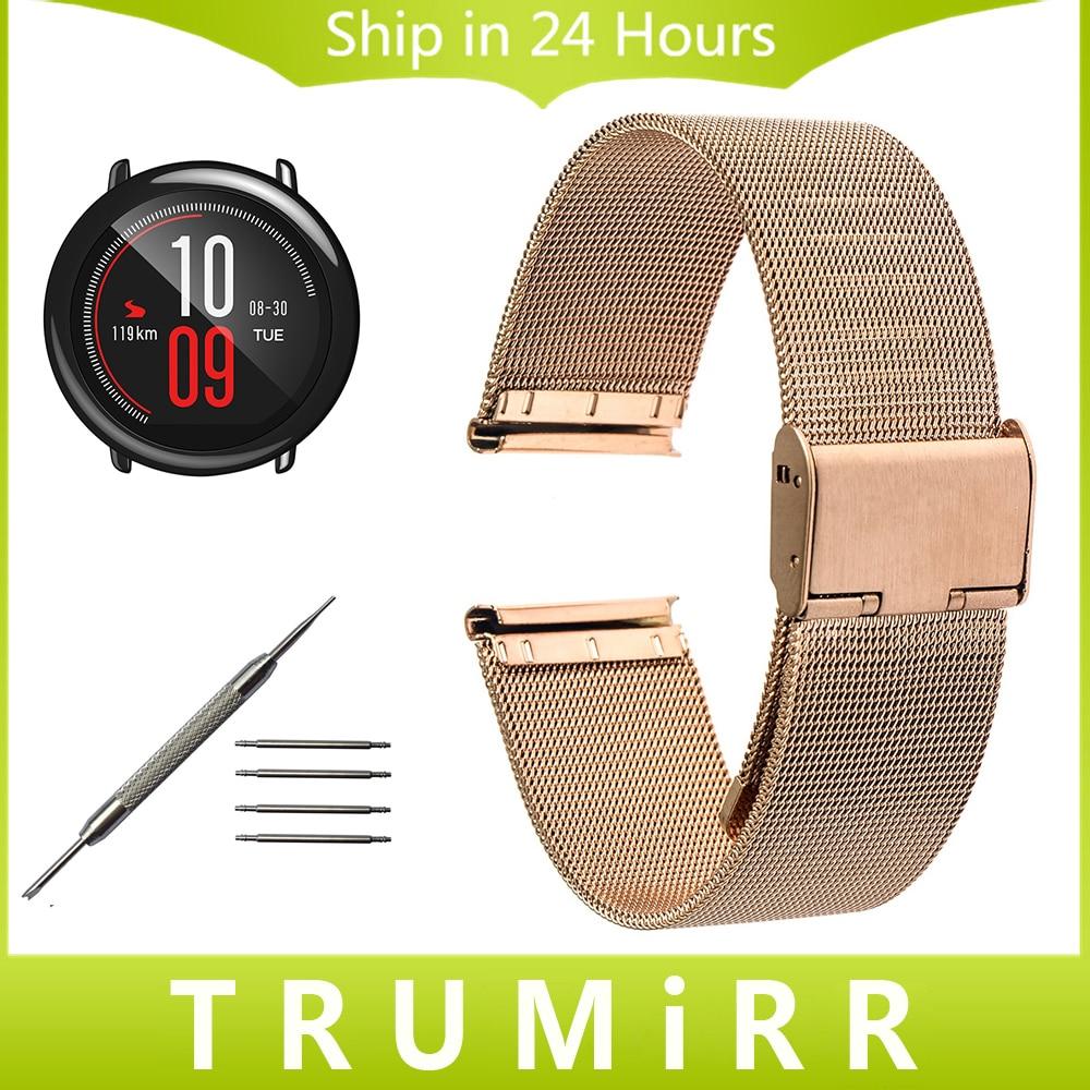 Milanese Watchband 20mm 22mm for Xiaomi Huami Amazfit Bip BIT PACE Lite Watch Band Stainless Steel Strap Wrist Belt Bracelet