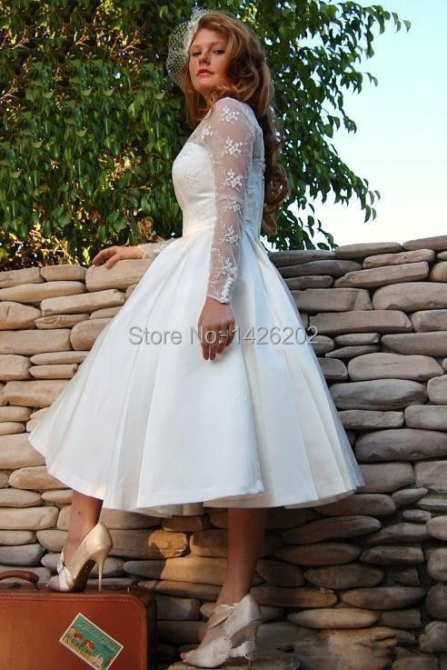 Cheap plus size tea length wedding dresses