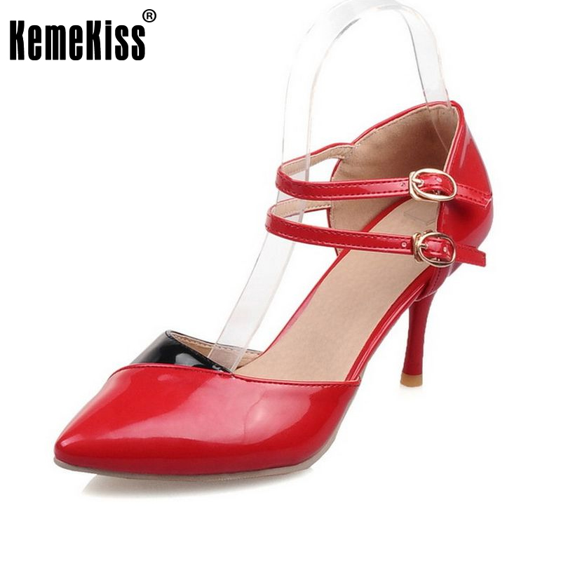 Kemekiss Plus Size 30-48 Women Sandals Ankle Straps High Heels Sandals Summer Shoes Pointed Toe Patent Leather Wedding Shoes fashion women mixed color sandals sexy pointed toe high heels shoes ankle strap rivets patent leather sandal plus size smybk 045