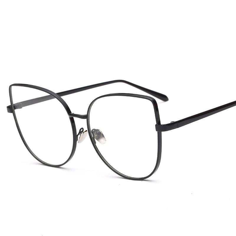 Luxus weibliche grad rahmen cat eye gold brillen optische rahmen ...