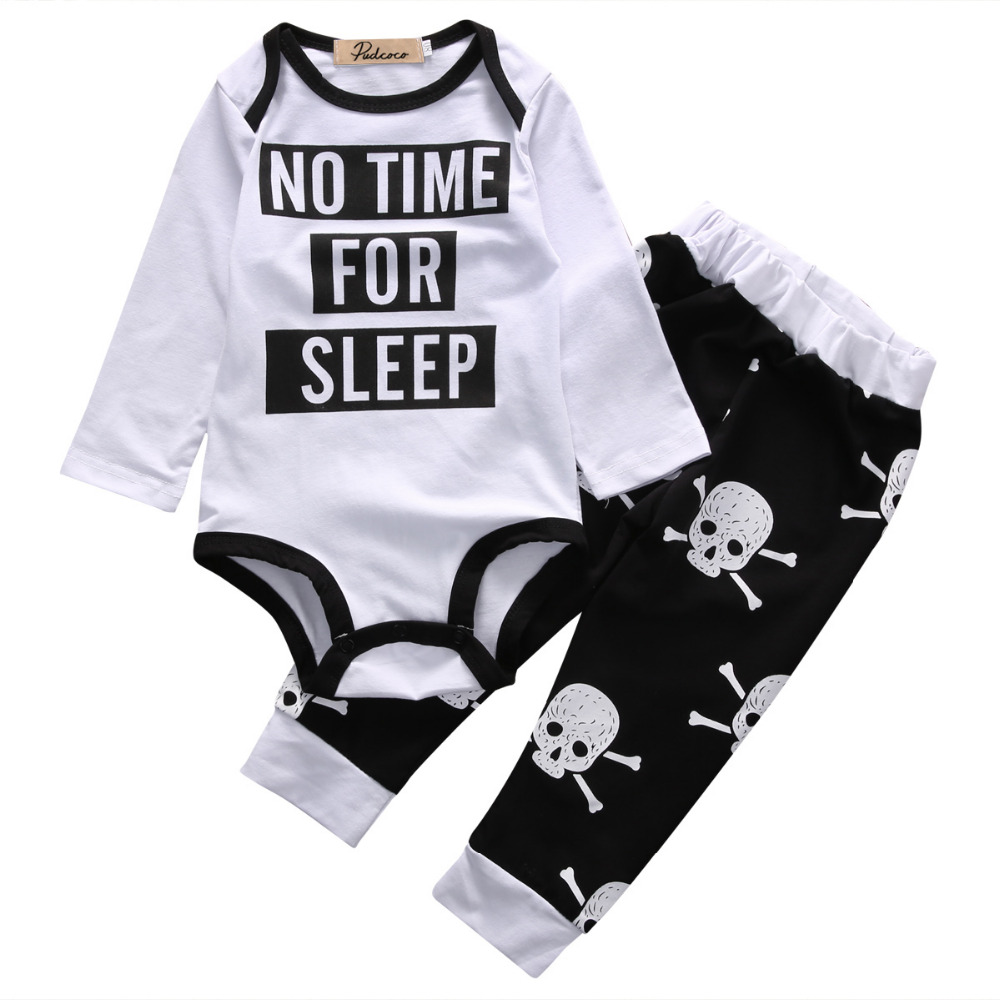2pcs Newborn Kids Baby Girls Boys Clothes Autumn Long Sleeve Cartoon Romper Winter+Long Skull Pants Baby Cotton Outfit Set 0-18M cotton baby rompers set newborn clothes baby clothing boys girls cartoon jumpsuits long sleeve overalls coveralls autumn winter