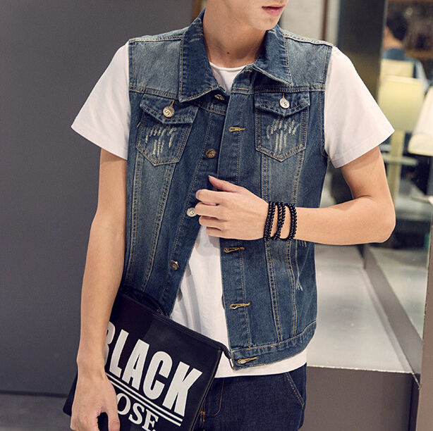 Aliexpress china cheap wholesale 2016 spring autumn new hot sale Youth fashion explosion models casual men sleeveless denim vest